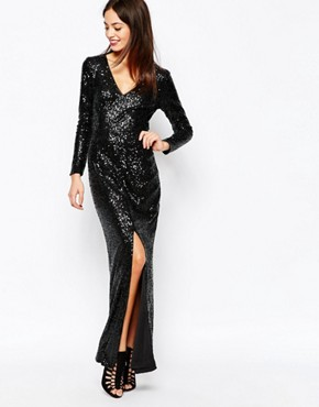 New Look Sequin Long Sleeve V Front Maxi Dress