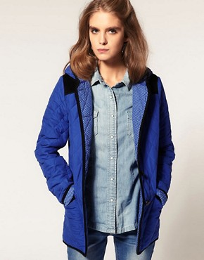 Image 1 ofASOS Hooded Quilted Jacket With Spot Lining