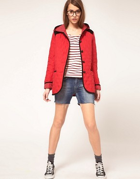 Image 4 ofASOS Hooded Quilted Jacket With Spot Lining
