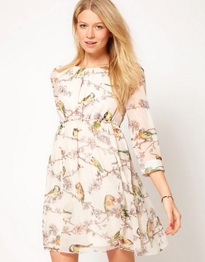 Image 1 ofTed Baker Dress With Bird Print