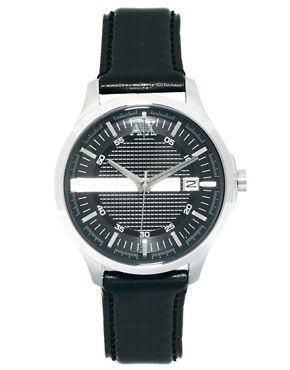 Image 1 ofArmani Exchange Black Leather Strap Watch AX2101