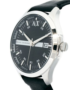 Image 4 ofArmani Exchange Black Leather Strap Watch AX2101