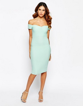 Lipsy Textured Dress With Bardot Neckline