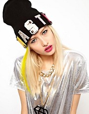 Funky Bling Nasty Beanie Hat With Swarovski Crystal