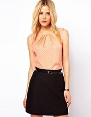 ASOS Sleeveless Top With Pleat Neck In Spot Print