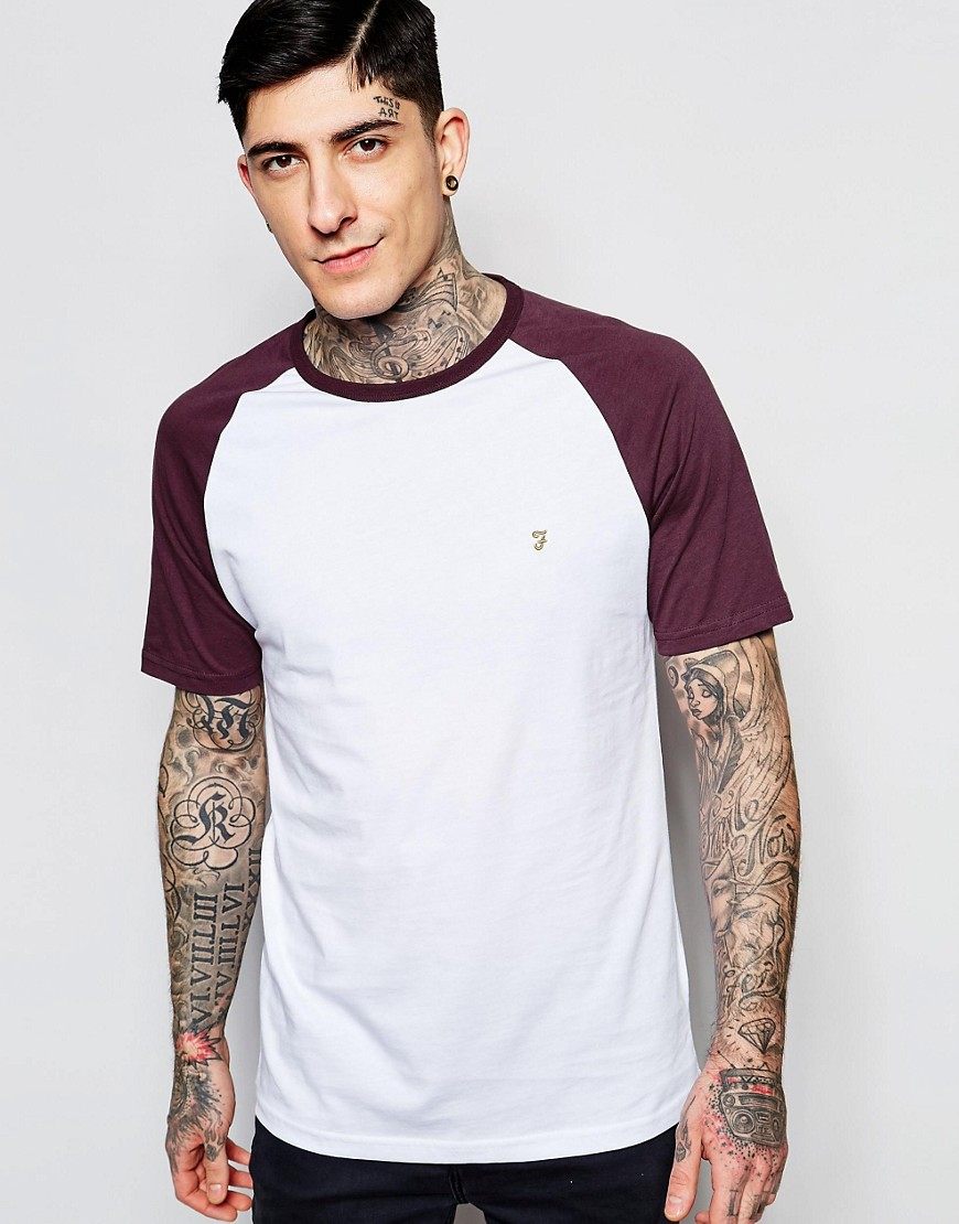 Farah T-Shirt with Contrast Raglan Sleeves Slim Fit Exclusive - Red