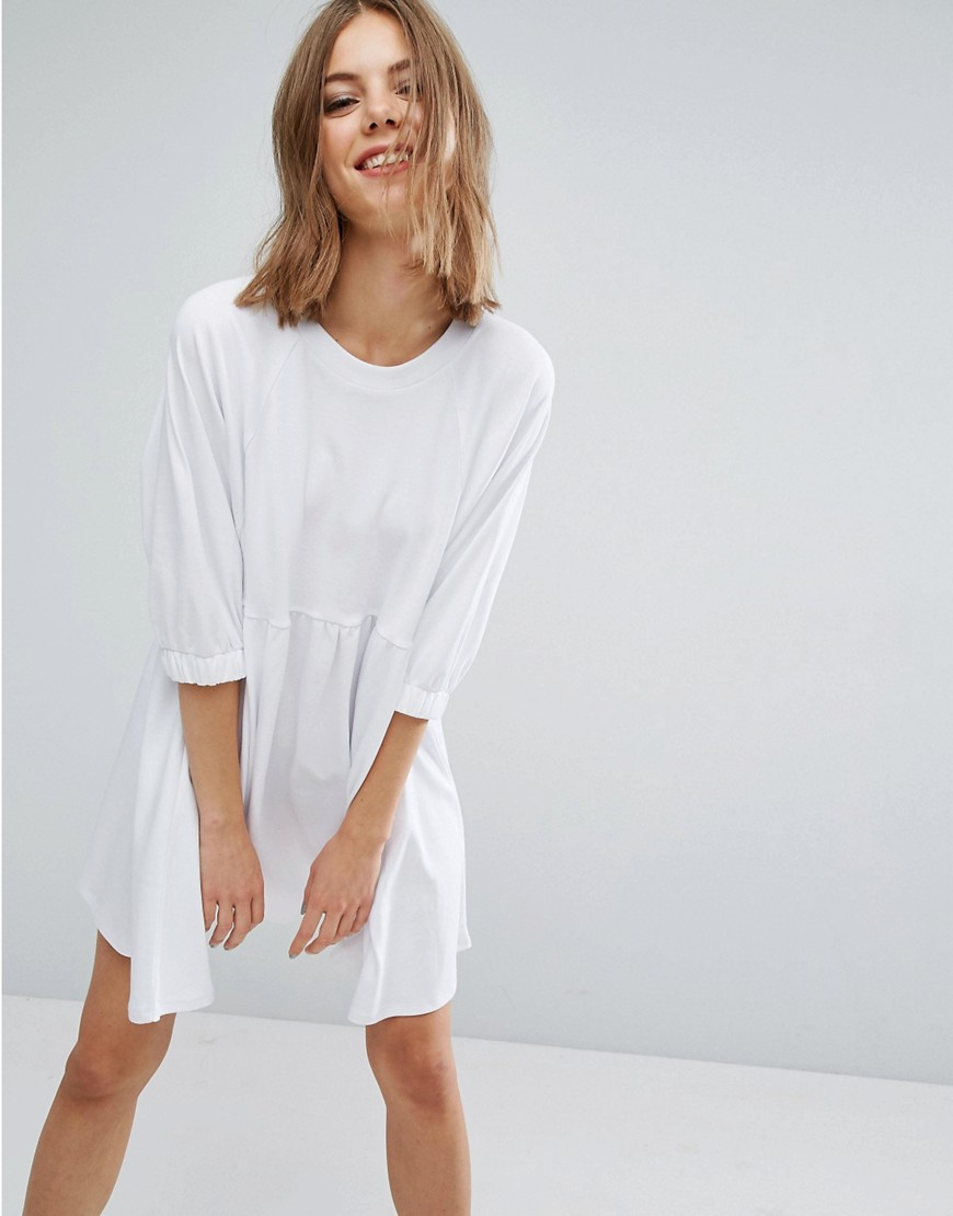 ASOS Cotton Smock Dress with Elastic Cuff Detail - White