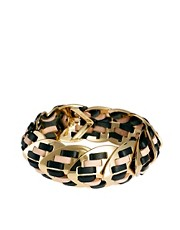 Giles &amp; Brother Nara Armor Thin Lacquer Bracelet in Bright Gold with Natural Black Leather