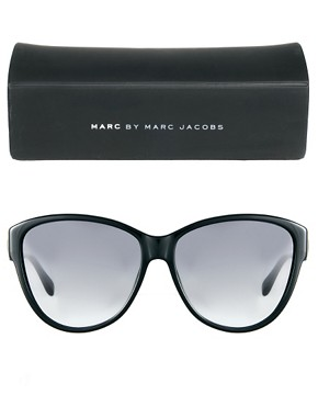 Image 2 ofMarc By Marc Jacobs Black Cat Eye Sunglasses