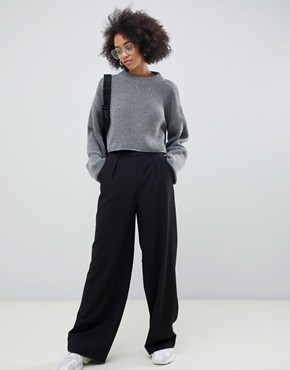 ASOS The Wide Leg Trousers with Pleat Detail