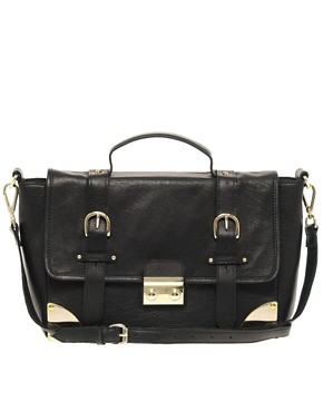 Image 1 ofASOS Leather Corner Detail Satchel Bag