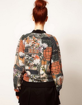 Image 2 ofEmma Cook Silk Bomber Jacket in Patchwork Print