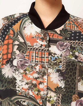Image 3 ofEmma Cook Silk Bomber Jacket in Patchwork Print