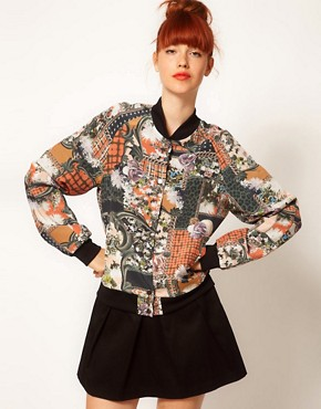 Image 1 ofEmma Cook Silk Bomber Jacket in Patchwork Print