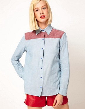 Image 1 ofHouse of Holland Chambray Western Shirt