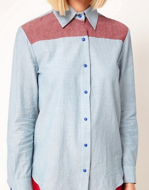 Image 3 ofHouse of Holland Chambray Western Shirt