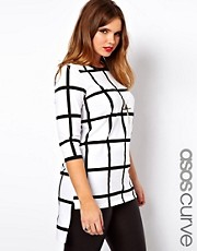 ASOS CURVE Exclusive Check Top With Step Hem