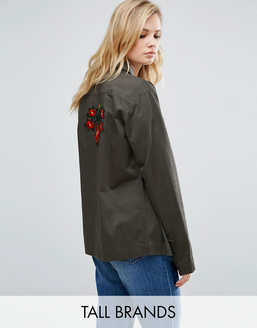 Kubban Tall Lightweight Embroidered Shacket - Olive