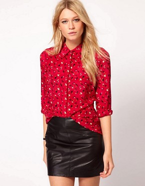 Image 1 ofOasis Acorn Print Silk Shirt