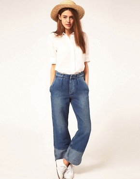 Image 1 ofMiH Jeans Portobello High Rise Jeans With Contrast Cuff Panel