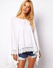 ASOS Oversized Top in Linen Nep with Lace Hem