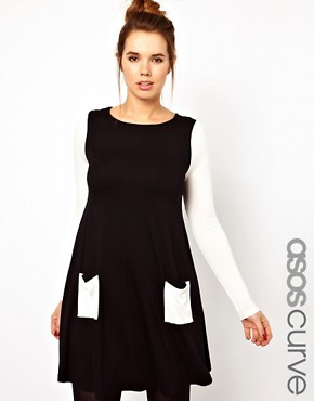 Image 1 ofASOS CURVE Exclusive Swing Dress In Colour Block