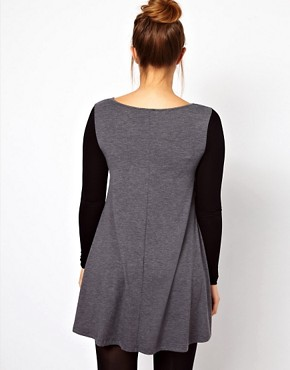 Image 2 ofASOS CURVE Exclusive Swing Dress In Colour Block