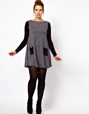 Image 4 ofASOS CURVE Exclusive Swing Dress In Colour Block