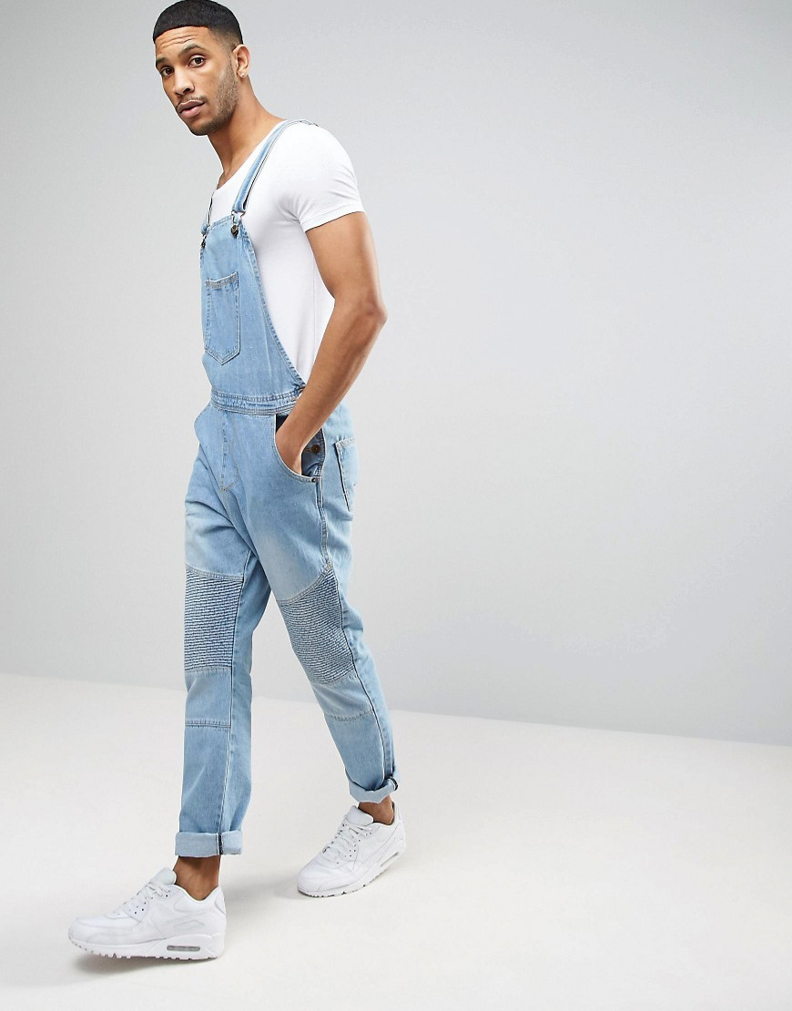 Liquor N Poker Biker Dungaree - Blue