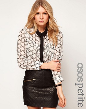 Image 1 ofASOS PETITE Exclusive Blouse In Bow Print