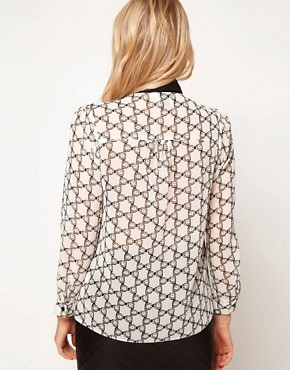 Image 2 ofASOS PETITE Exclusive Blouse In Bow Print