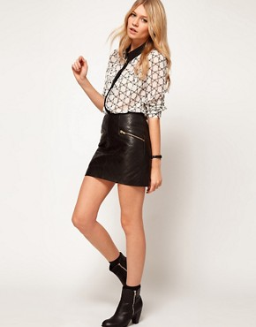 Image 4 ofASOS PETITE Exclusive Blouse In Bow Print