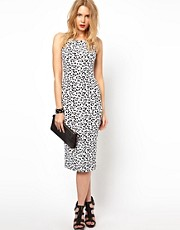 Lavish Alice Midi Dress In White Leopard Print