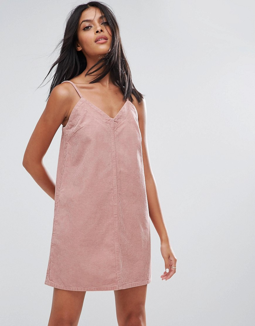ASOS Cord Slip Dress in Pale Pink