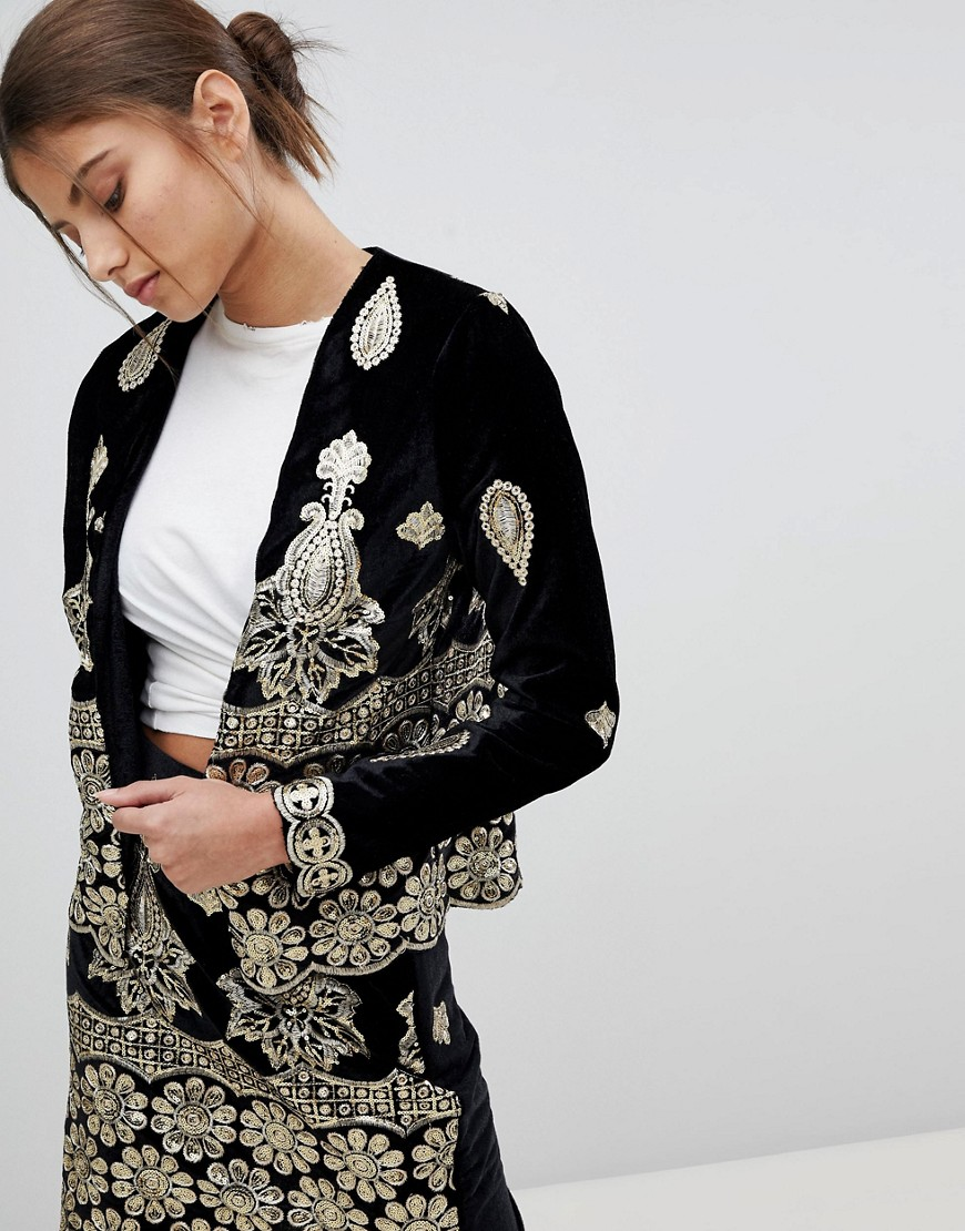 Missguided Embellished Festival Jacket - Black