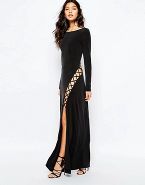 The Jetset Diaries Novella Lace Up Maxi Dress in Black