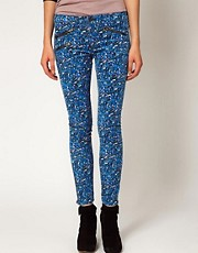 rag &amp; bone /JEAN Zip Detail Skinny Jean in Floral Cord