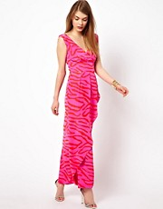 Olivia Rubin Silk Zebra Print Maxi Dress