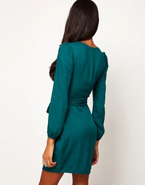 Image 2 ofASOS PETITE Wrap Dress With Tulip Skirt