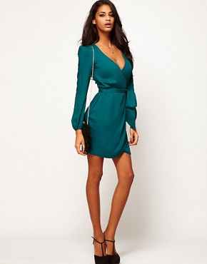 Image 4 ofASOS PETITE Wrap Dress With Tulip Skirt