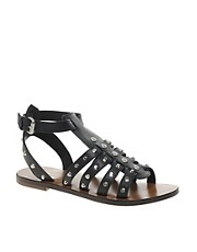 KG Mobster Leather Black Studded Flat Sandals