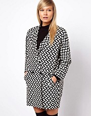 ASOS Coat In Mono Pattern With Textured Back
