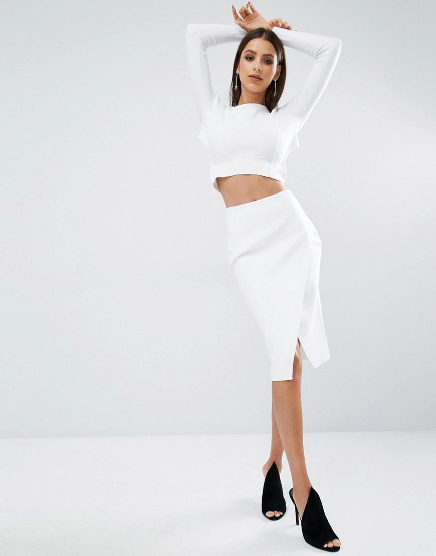 Kendall Kylie - Überlappender Bleistiftrock aus festem Stoff - Weiß - Farbe:Weiß