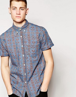 Hoxton Denim Shirt Aztec Print Short Sleeves