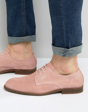 ASOS Derby Shoes In Relaxed Pink Suede