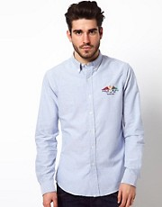 Polo Ralph Lauren Shirt in Slim Oxford Cotton with Flag Embroidery