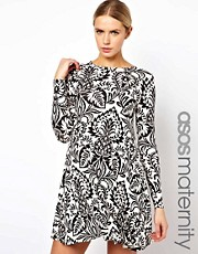 ASOS Maternity Swing Dress In Baroque Print