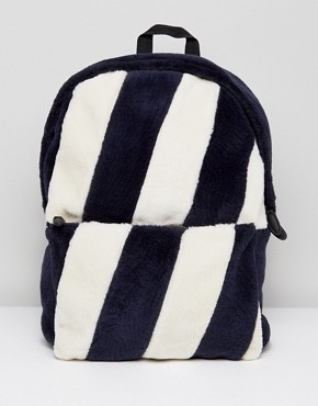 ASOS Backpack In Striped Faux Fur Design