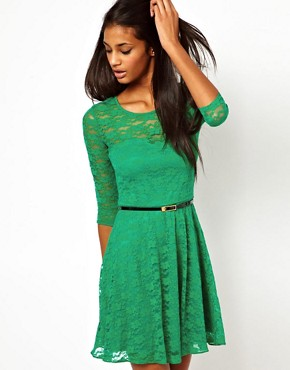 Image 1 ofASOS Skater Dress In Lace with 3/4 Sleeves And Belt