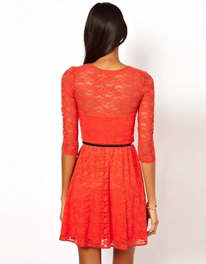 Image 2 ofASOS Skater Dress In Lace with 3/4 Sleeves And Belt